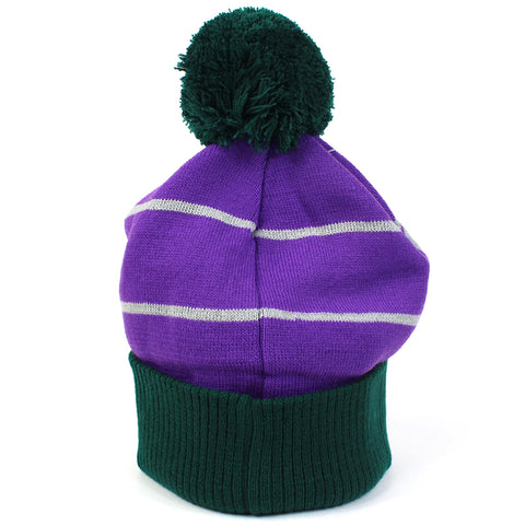 Anaheim Ducks Beanie Green Purple NHL Wordmark Bobble Majestic Athletic
