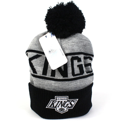 LA Kings Beanie - Black Grey NHL Wordmark Bobble - Majestic Athletic