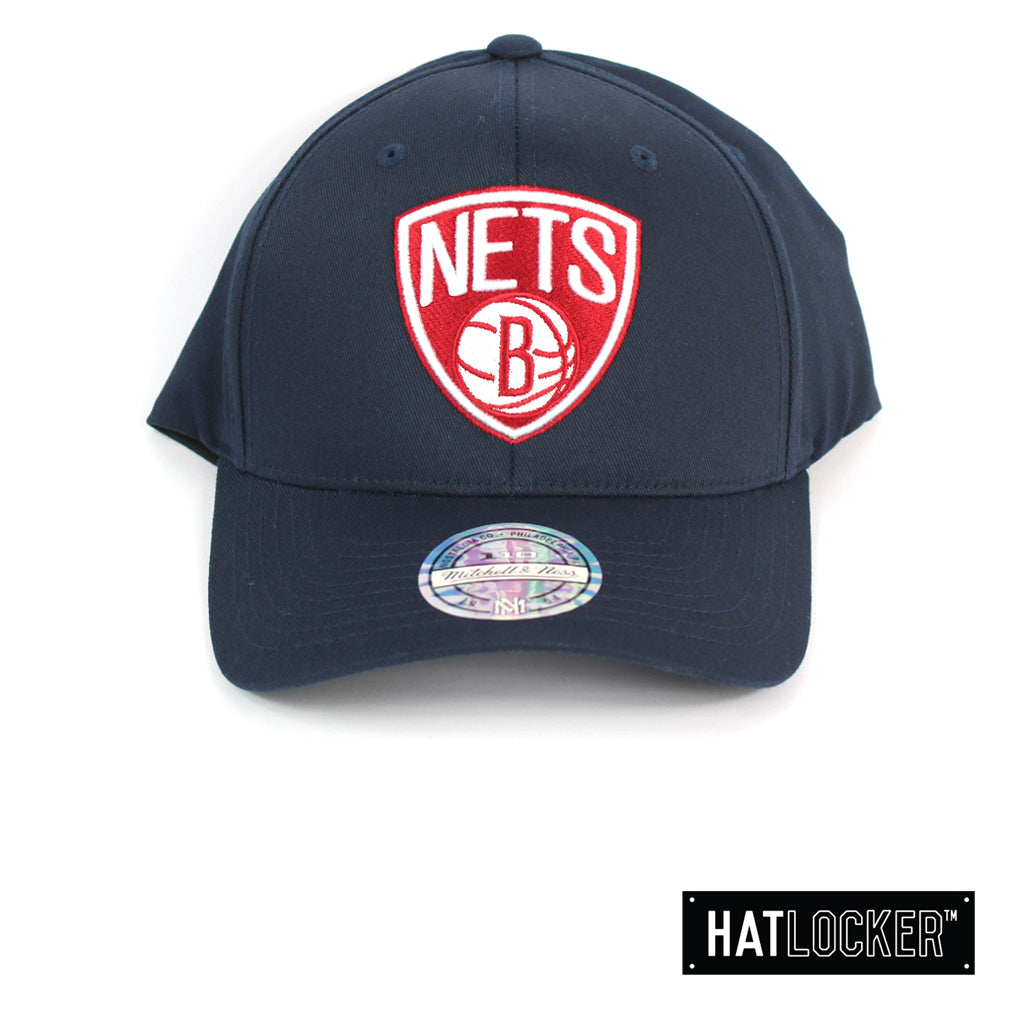 Mitchell & Ness Brooklyn Nets Red White Logo Navy Curved Snapback