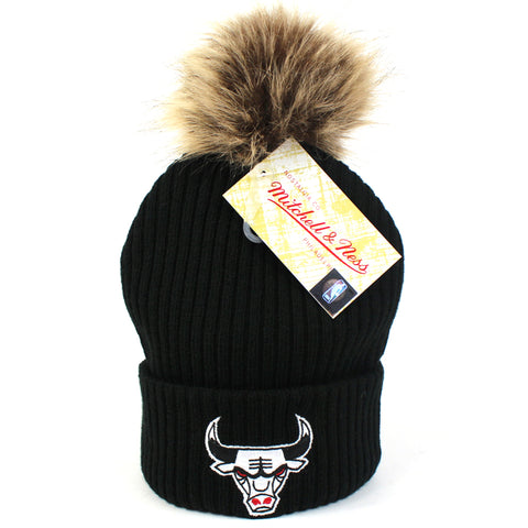 Chicago Bulls Womens Beanie Black Baseplate Pom Mitchell & Ness