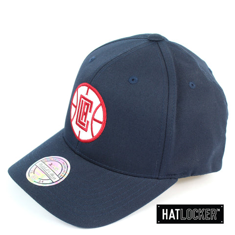 Mitchell & Ness LA Clippers Red White Logo Navy Curved Snapback