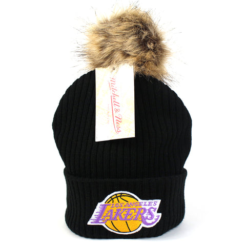 LA Lakers Women's Beanie Black Baseplate Pom Mitchell & Ness