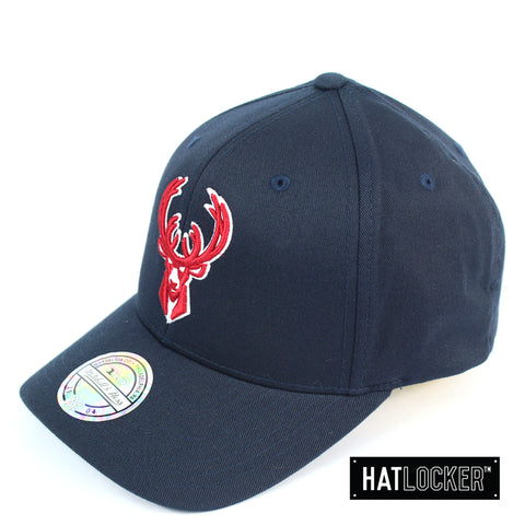 Mitchell and Ness Milwaukee Bucks Red White Logo Navy Curved Snapback