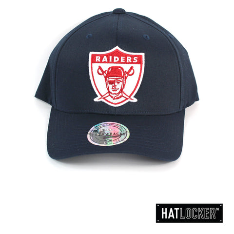 Mitchell & Ness Oakland Raiders Red White Logo Navy Curved Snapback