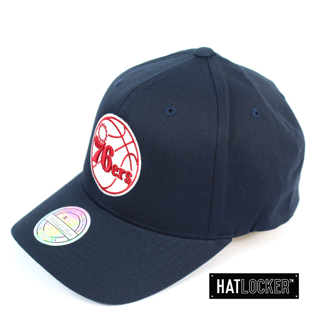 Mitchell and Ness Philadelphia 76ers Red White Logo Navy Curved Snapback