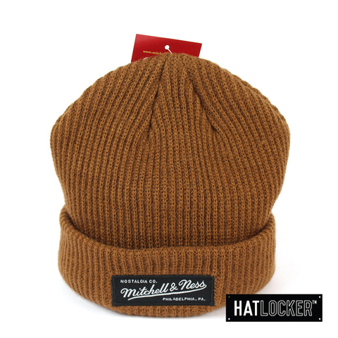 Mitchell Ness MN Branded Tan Shallow Cuff Knit Beanie