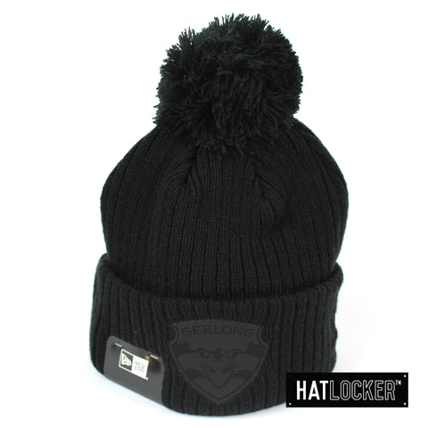 New Era Geelong Cats Black On Black Pom Knit Beanie