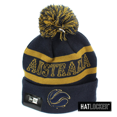 New Era Australian Boomers Navy & Gold Pom Knit Beanie