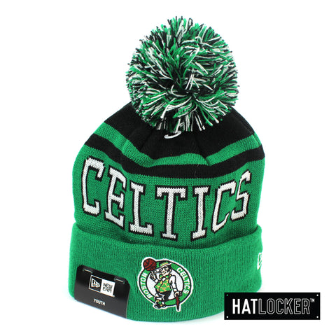 New Era Boston Celtics Team Court Youth Pom Knit Beanie