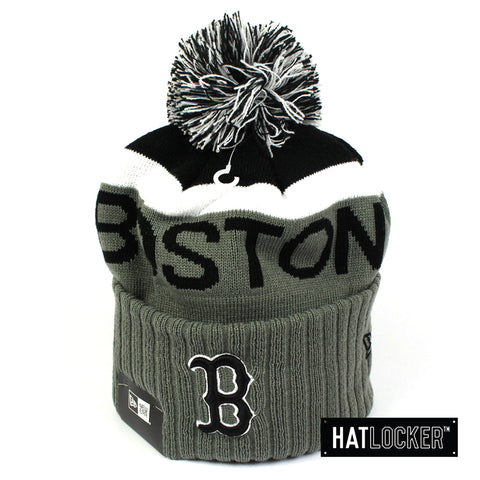 New Era Boston Red Sox Black & Grey Pom Knit Beanie