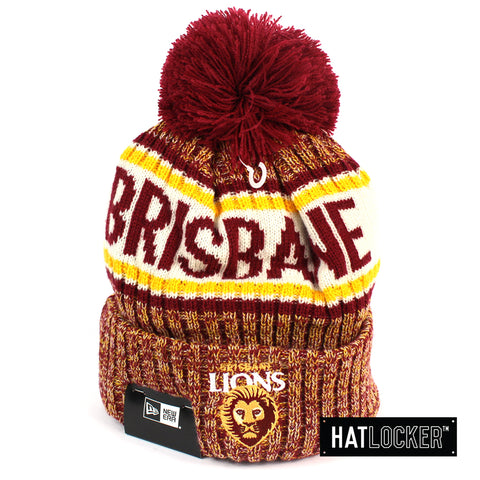 New Era Brisbane Lions Authentic Team Multi Colour Pom Knit Beanie