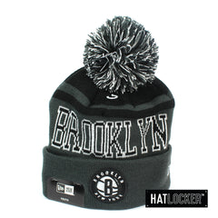 New Era Brooklyn Nets Team Court Youth Pom Knit Beanie