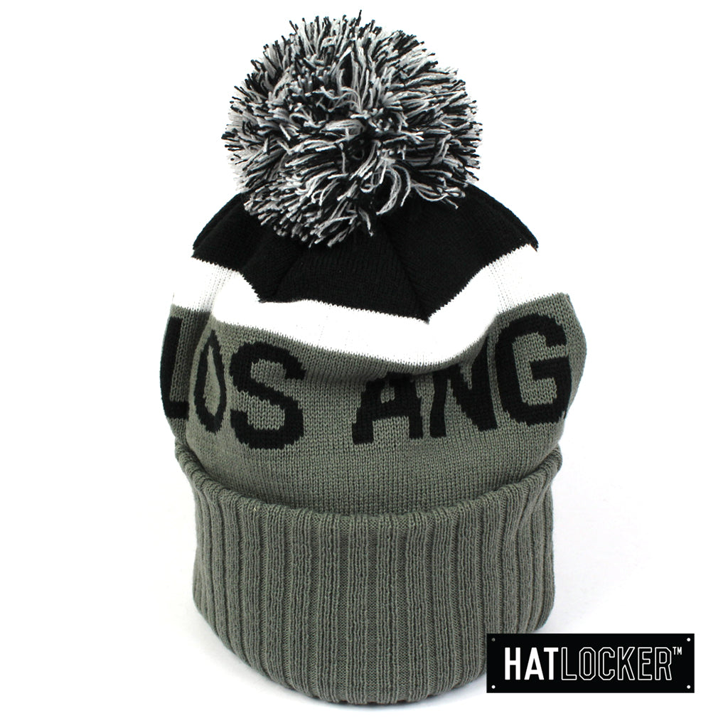 New Era LA Dodgers Black & Grey Pom Knit Beanie