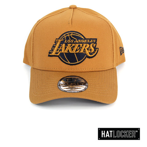 New Era LA Lakers Canvas In Bronze Curved Snapback