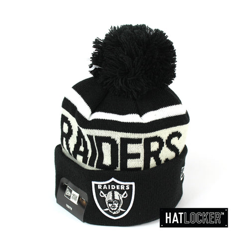 New Era Oakland Raiders Black & White Youth Pom Knit Beanie