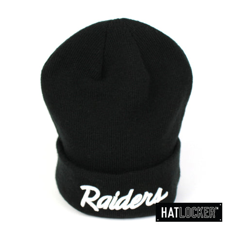 New Era Oakland Raiders White Script Logo Beanie