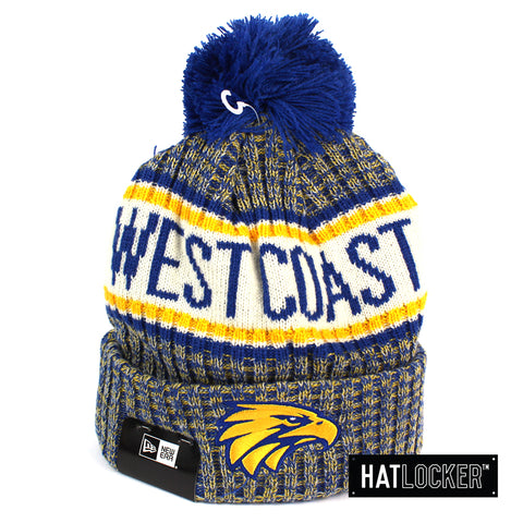 New Era West Coast Eagles Authentic Team Multi Colour Pom Knit Beanie