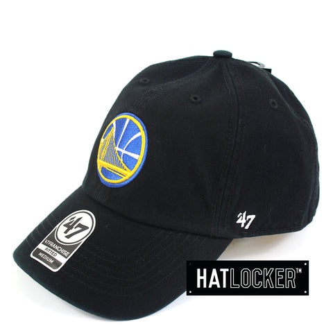 47 Brand NBA Golden State Warriors Franchise Black Curved Brim Side Hat Locker Australia