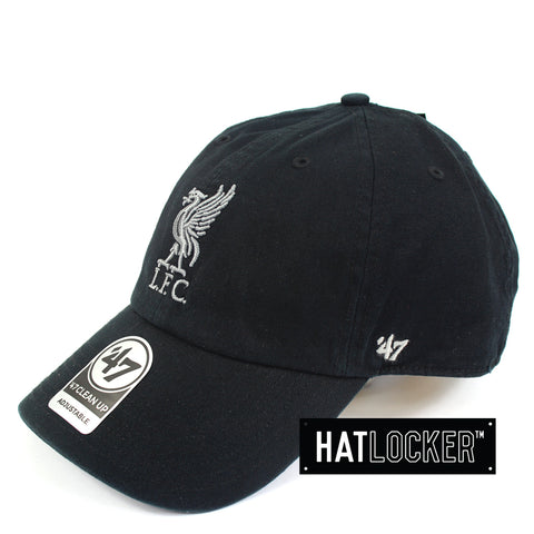 37744e9779e 47 Brand EPL Liverpool FC Clean Up Black Curved Brim Side Hat Locker  Australia