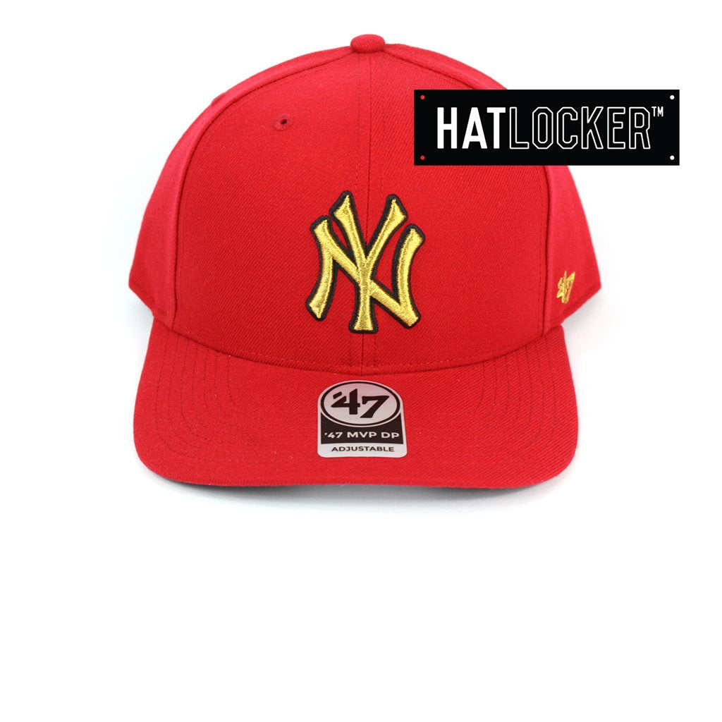 47 Brand New York Yankees Red Gold Metallic Precurved Snapback