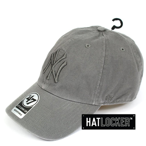 47 Brand New York Yankees Grey Tonal Clean Up Curved Strapback