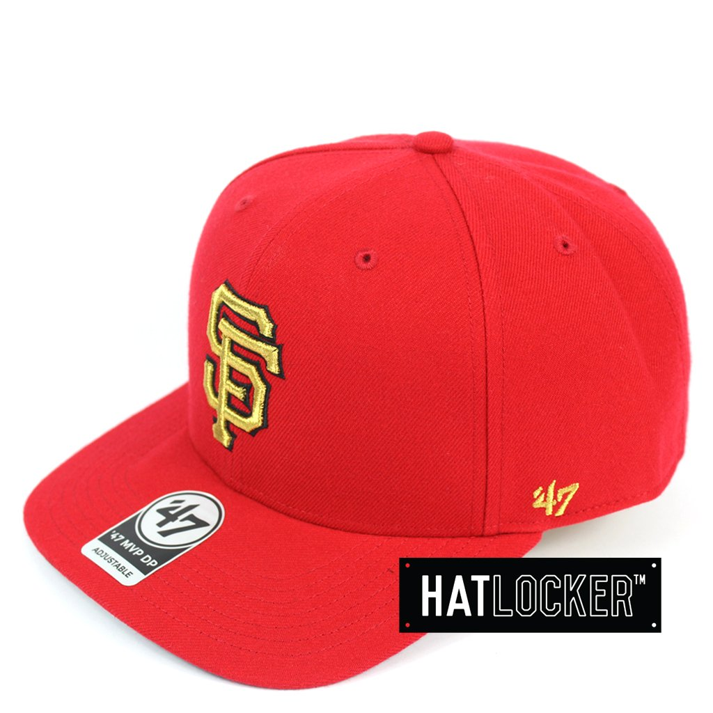 47 Brand San Francisco Giants Red Gold Metallic Precurved Snapback Hat