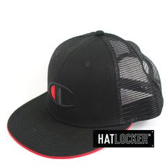 Champion Big C Logo Black Trucker Snapback Hat