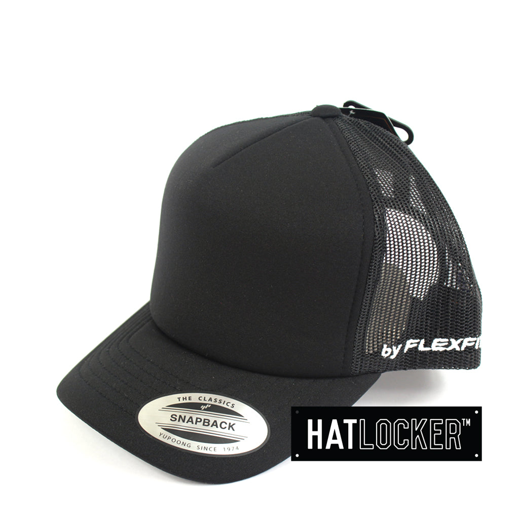 Flexfit High Crown Black Youth Trucker Cap