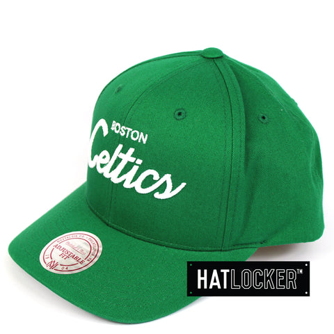 Mitchell & Ness Boston Celtics Basic Script Curved Snapback Hat