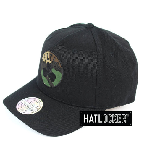 Mitchell and Ness Boston Celtics Black Camo 110 Curved Snapback