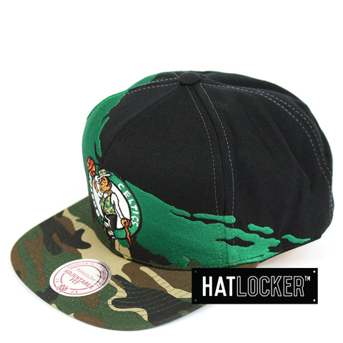 Mitchell & Ness Boston Celtics Camo Paintbrush Snapback Hat