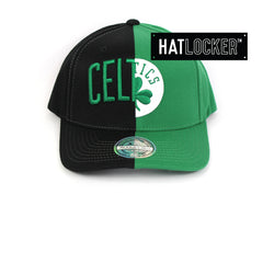 Mitchell & Ness Boston Celtics Half Logo Curved Snapback Hat