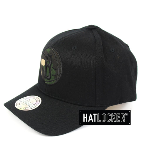 Mitchell & Ness Brooklyn Nets Black Camo Infill Curved Snapback Hat
