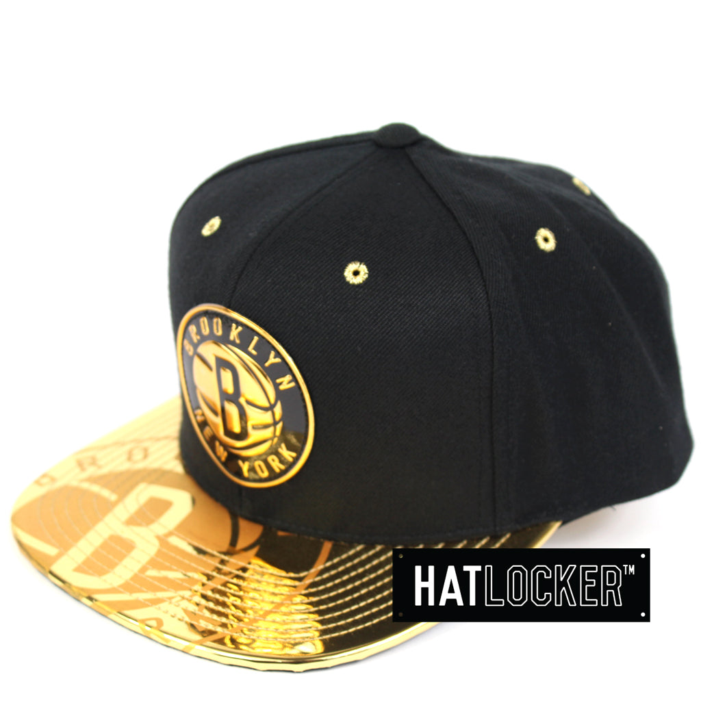 9767fbc4224 Mitchell   Ness Brooklyn Nets Gold Standard Snapback Hat