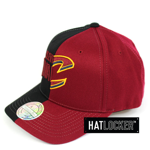 f193893fb719ee ... coupon mitchell ness cleveland cavaliers half logo curved snapback hat  dba3c e1e59