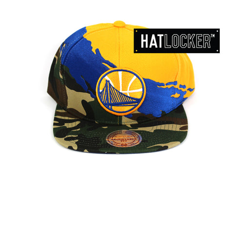 Mitchell & Ness Golden State Warriors Camo Paintbrush Snapback Hat