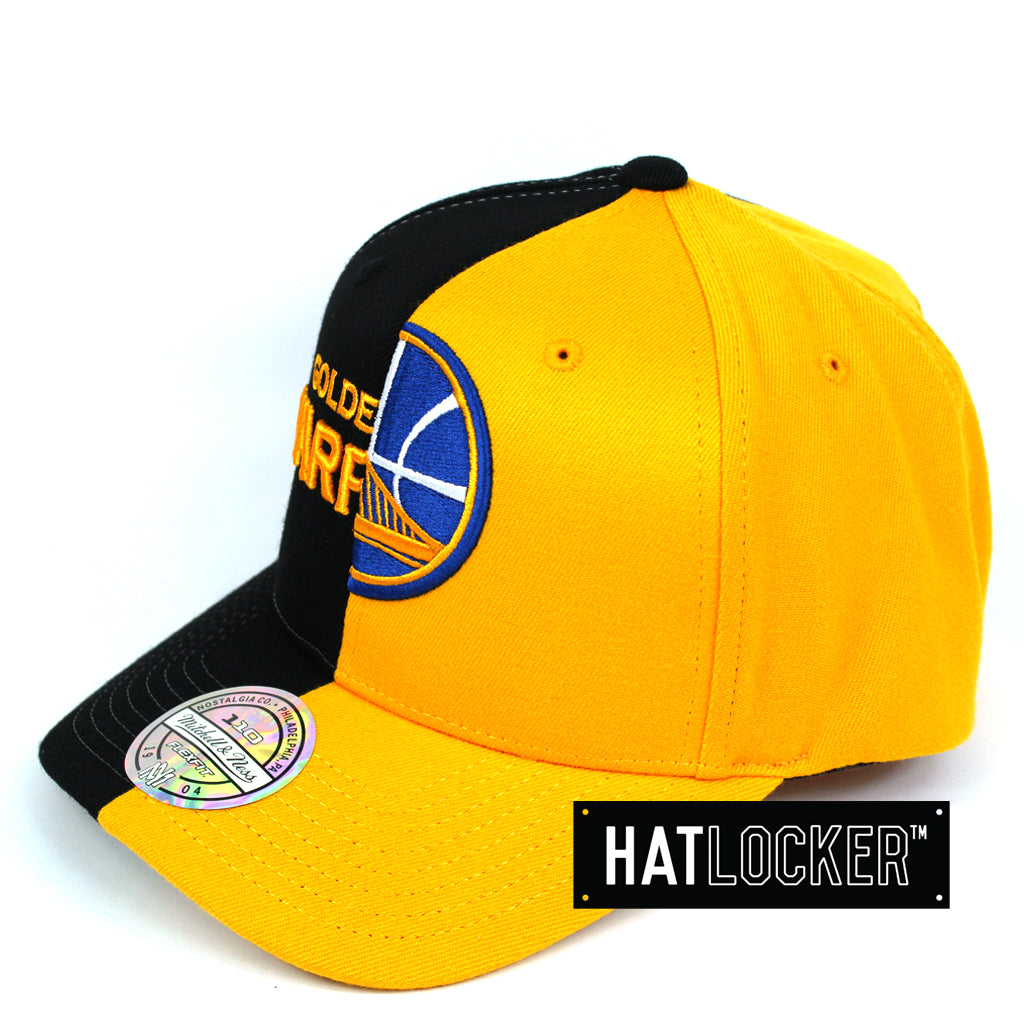 Mitchell & Ness Golden State Warriors Half Logo Curved Snapback Cap