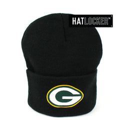 Mitchell & Ness Green Bay Packers Black Cuff Knit Beanie