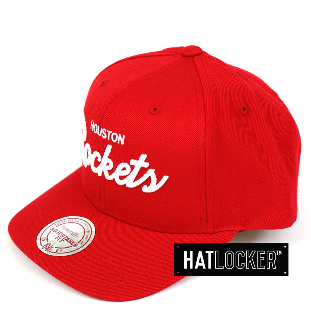 Mitchell & Ness Houston Rockets Basic Script Curved Snapback Cap