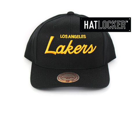 Mitchell & Ness LA Lakers Basic Script Curved Snapback Cap