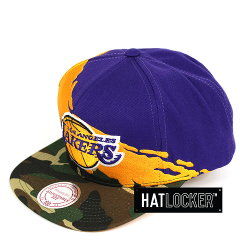 Mitchell & Ness LA Lakers Camo Paintbrush Snapback Hat