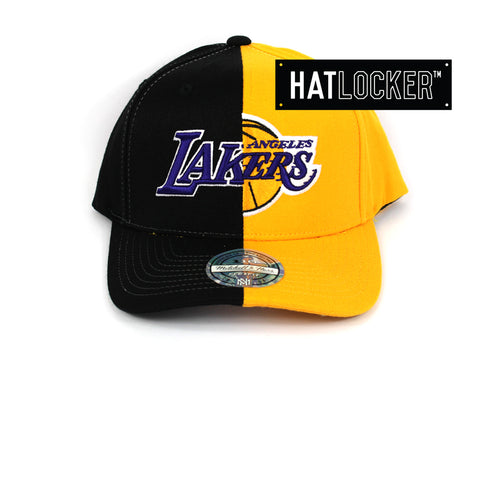Mitchell & Ness LA Lakers Half Logo Curved Snapback Hat