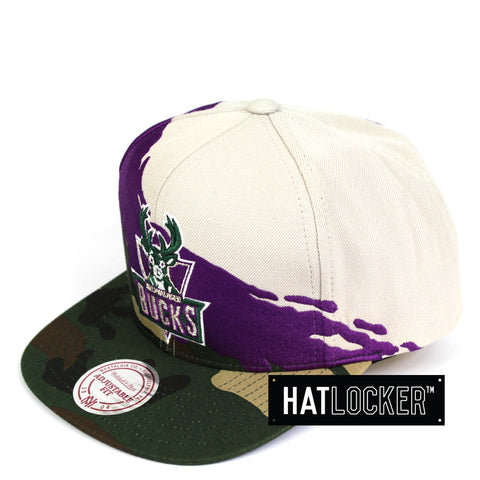 Mitchell & Ness Milwaukee Bucks Camo Paintbrush Snapback Cap