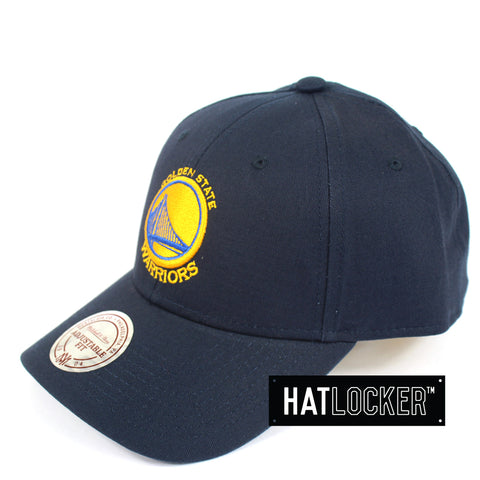 Mitchell And Ness Golden State Warriors Navy Low Pro Curved Snapback Cap