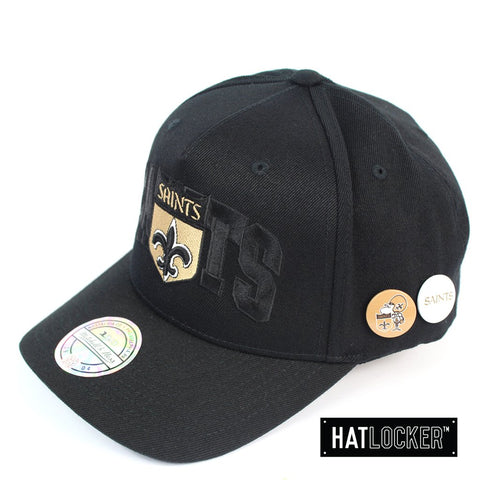 Mitchell and Ness New Orleans Saints Nostalgia Black Curved Snapback