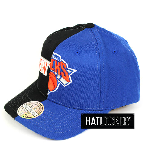 new arrivals 4e2dc 1d3be Mitchell   Ness New York Knicks Half Logo Curved Snapback Hat