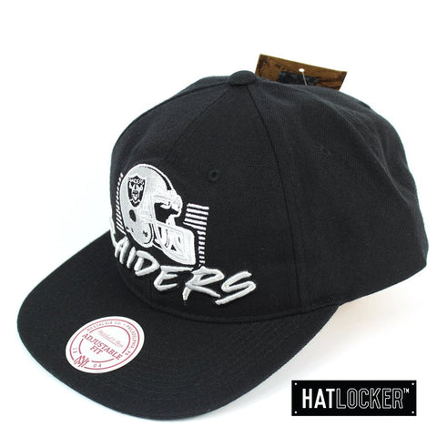 Mitchell and Ness Oakland Raiders Retro Stack Black Snapback Cap