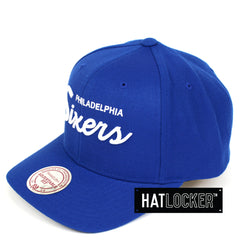 Mitchell & Ness Philadelphia 76ers Basic Script Curved Snapback