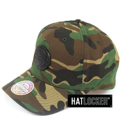 Mitchell & Ness Philadelphia 76ers Camo Metal Badge Curved Snapback Hat