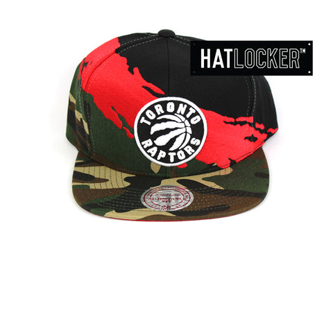 Mitchell & Ness Toronto Raptors Camo Paintbrush Red Black Snapback Cap